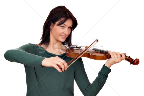 Stock fotó: Gyönyörű · lány · hegedűművész · fehér · mosoly · szépség · jókedv
