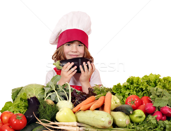 little girl cook with aubergine and vegetables Stock photo © goce