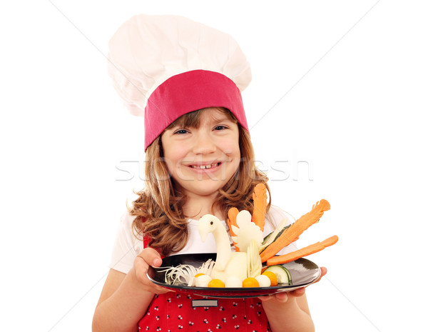 little girl cook with decorated salad Stock photo © goce