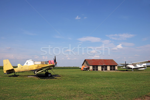 old crop duster airplanes on land airfield  Stock photo © goce