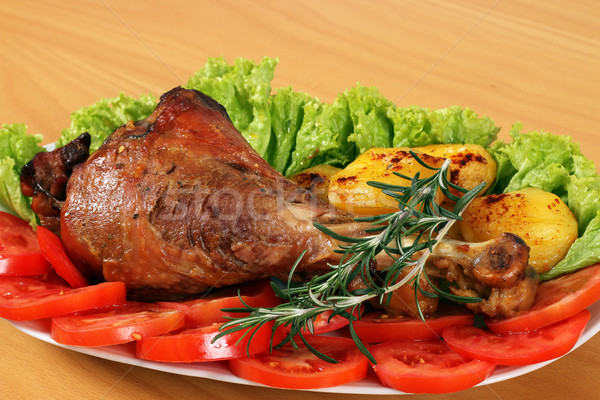 drumstick with vegetables on plate Stock photo © goce