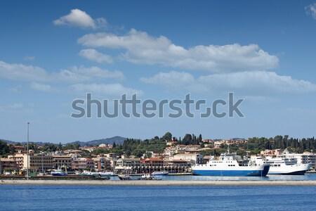Porta balsa barcos Grécia céu mar Foto stock © goce
