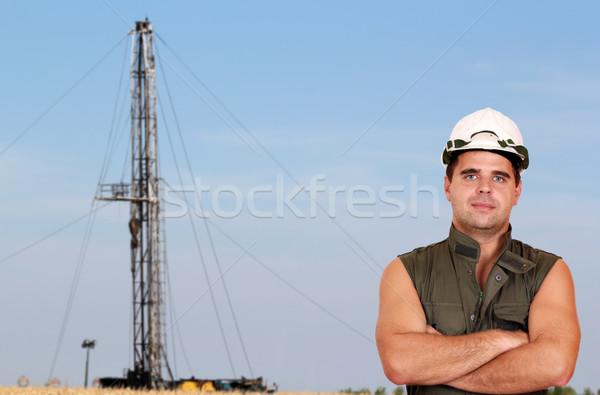 нефтяником буровая области нефть работник власти Сток-фото © goce