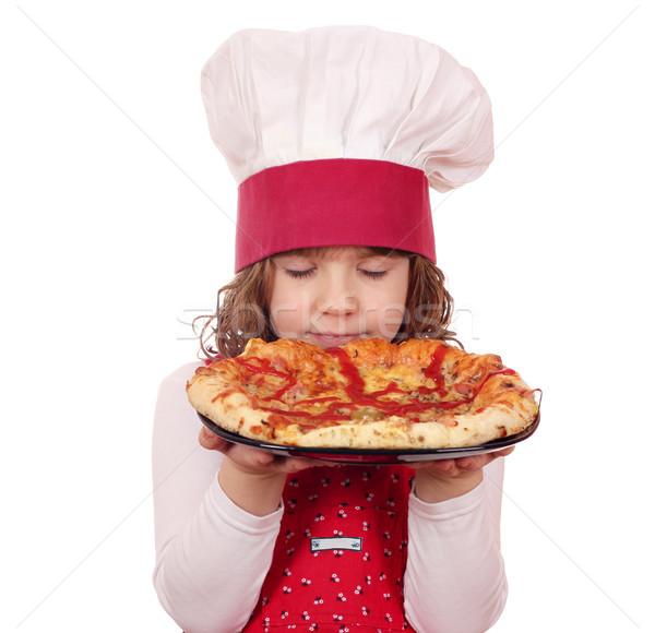 little girl cook smells pizza Stock photo © goce