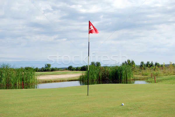 golf course with red flag and ball Stock photo © goce
