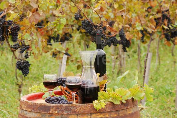 Foto stock: Vinho · tinto · uva · vinho · folha · vidro · garrafa