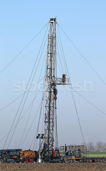 oil drilling rig and oil workers Stock photo © goce