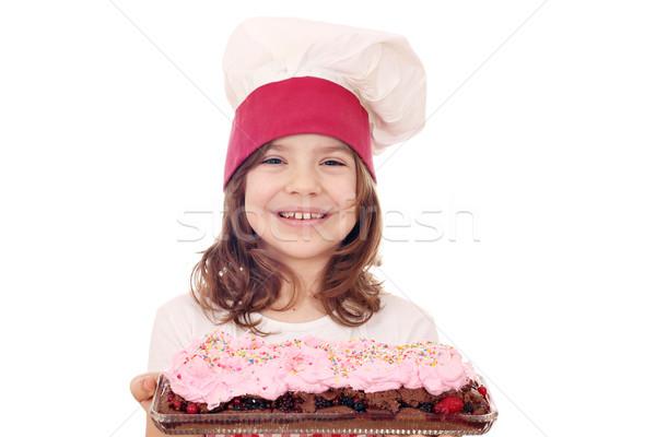 Feliz nina cocinar forestales pastel de frutas alimentos Foto stock © goce