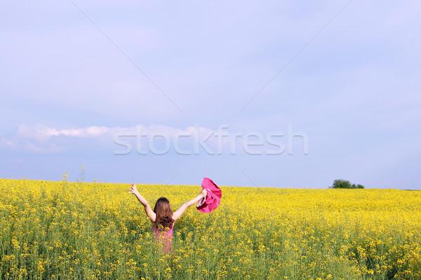 Nina las manos en alto amarillo campo verano temporada Foto stock © goce
