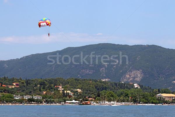 parasailing on blue sky Corfu island summer season Stock photo © goce