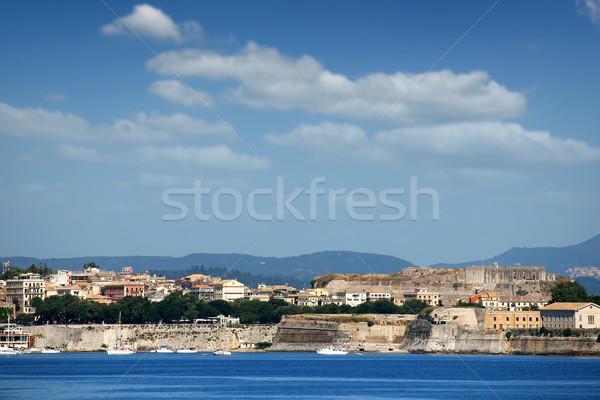 Város új erőd Görögország égbolt víz Stock fotó © goce