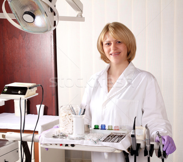 female dentist with medical equipment Stock photo © goce
