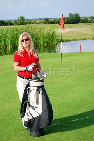 girl on golf field Stock photo © goce