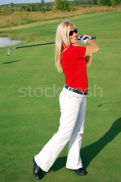 girl playing golf Stock photo © goce