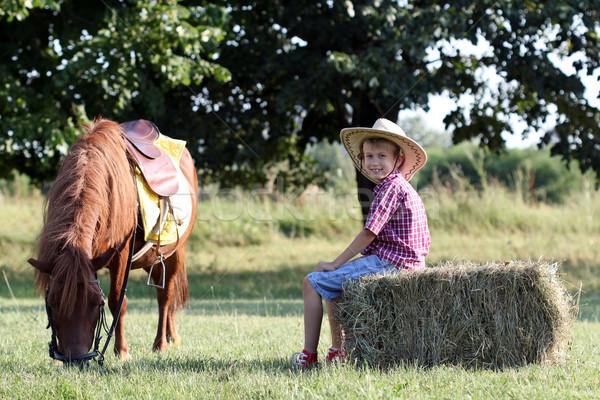 happy boy and pony horse on farm Stock photo © goce