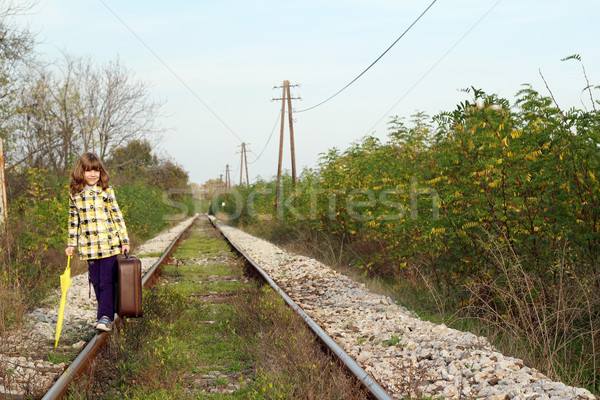 beautiful little girl with suitcase on railroad Stock photo © goce