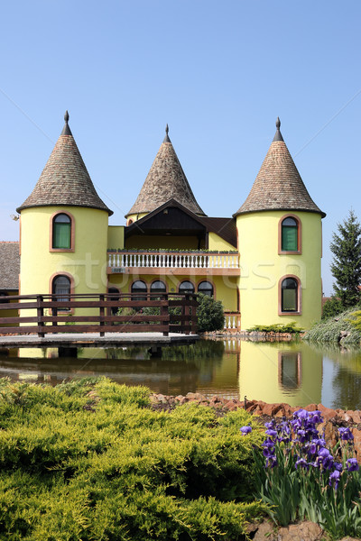 yellow castle with pond Eastern Europe Serbia Stock photo © goce