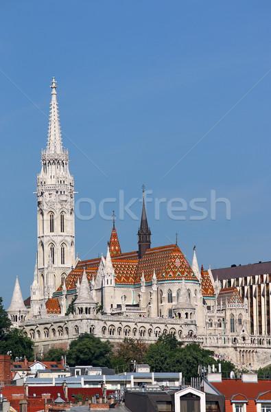 famous Matthias church and Fisherman towers Budapest cityscape Stock photo © goce