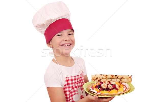 幸せ 女の子 調理 甘い 笑顔 フルーツ ストックフォト © goce