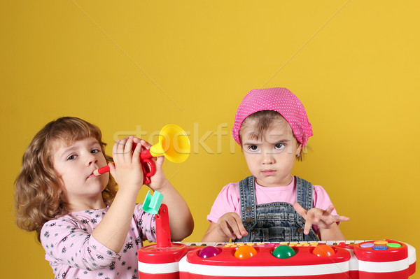 two little girls playing music Stock photo © goce