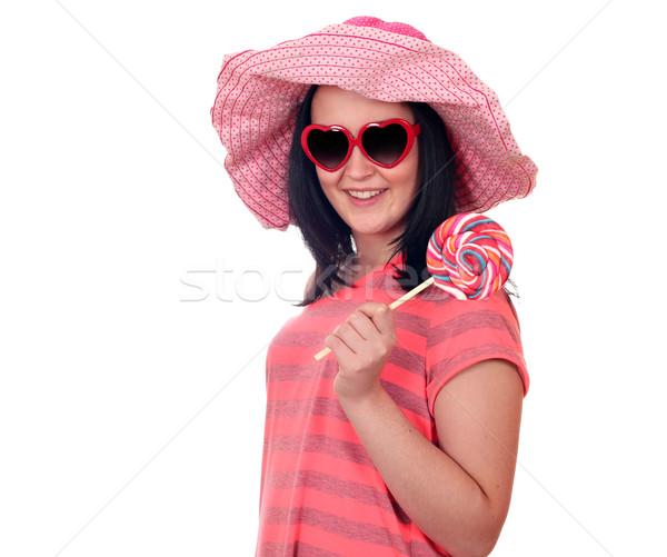 Adolescente lollipop blanche femme beauté Teen Photo stock © goce