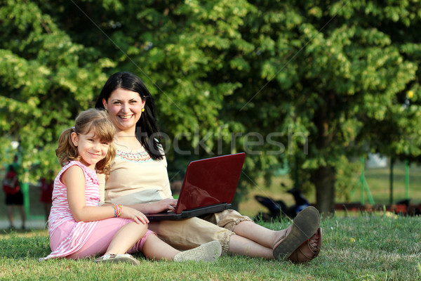 happy little girl and woman with laptop in park Stock photo © goce