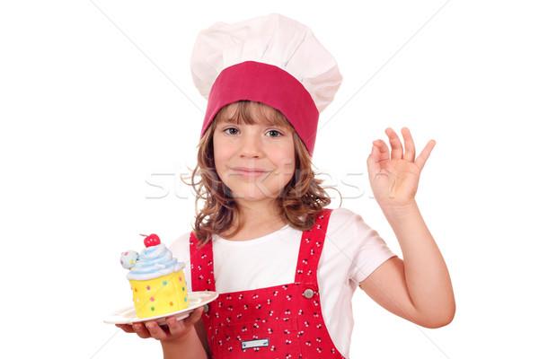 Bambina cuoco segno di mano bambino Foto d'archivio © goce