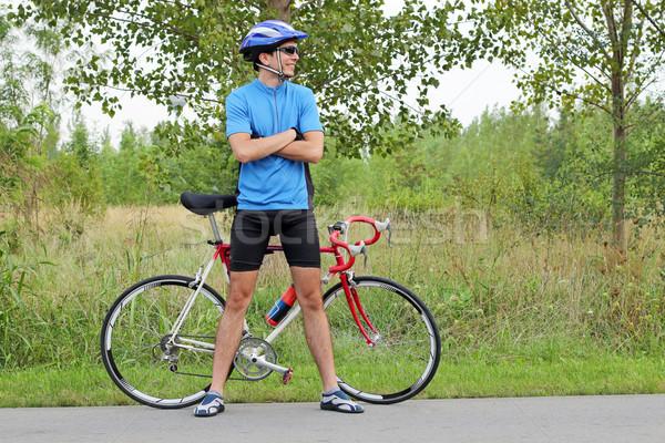 Erkek bisikletçi yarış bisiklet gülümseme spor Stok fotoğraf © goce