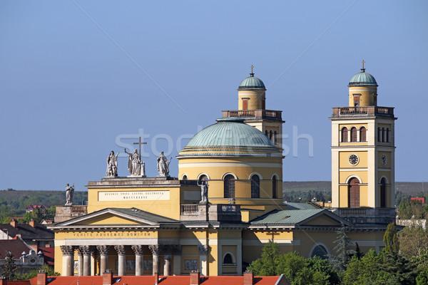 Cathédrale basilique Hongrie ciel bâtiment croix Photo stock © goce