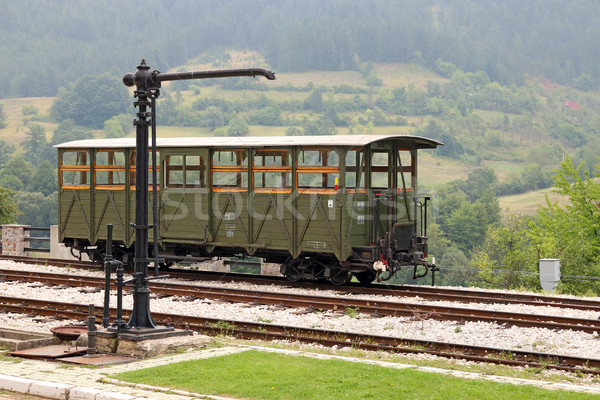 railway station with old wooden wagon Stock photo © goce