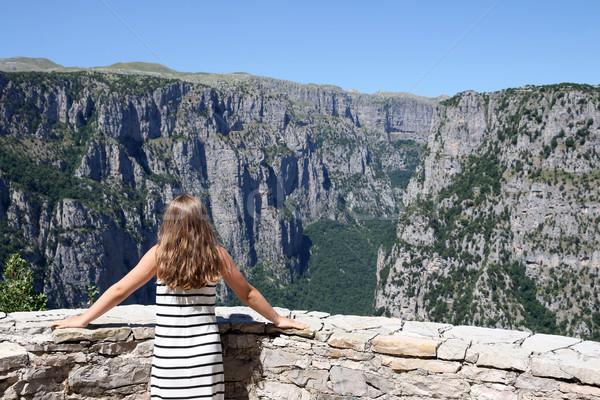 girl on the viewpoint Vikos gorge Greece summer season Stock photo © goce