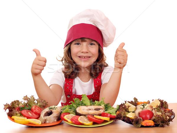 счастливым девочку Кука морепродуктов девушки Сток-фото © goce