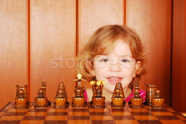 Little girl xadrez criança diversão preto criança Foto stock © goce