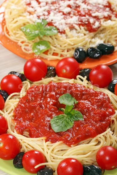 Spaghetti tomaten saus blad pasta Stockfoto © goce