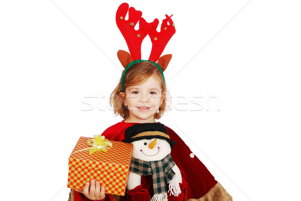 little girl with rudolf deer horn on head and gift Stock photo © goce