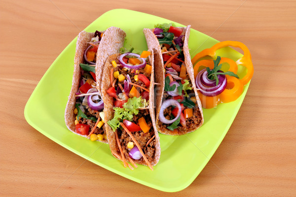 three tacos on plate fast food Stock photo © goce