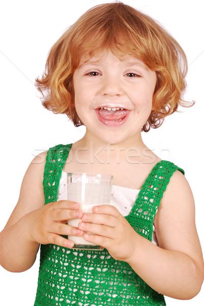 Feliz nina vidrio leche sonrisa nino Foto stock © goce