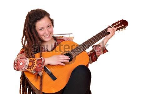 happy girl with dreadlocks and guitar posing Stock photo © goce