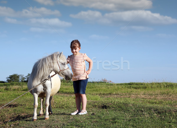 пони лошади ребенка пастбище девушки области Сток-фото © goce