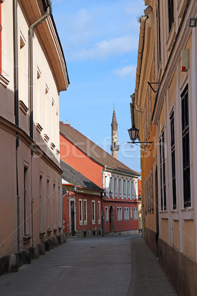 street with old buildings and minaret Eger Hungary Stock photo © goce