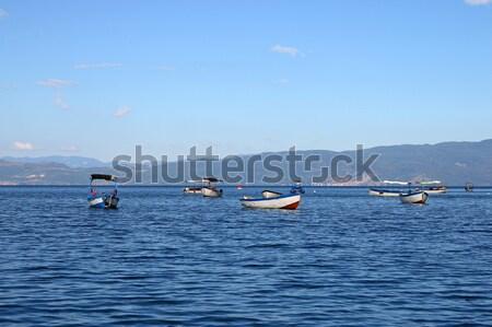 лодках озеро пейзаж лет сезон воды Сток-фото © goce