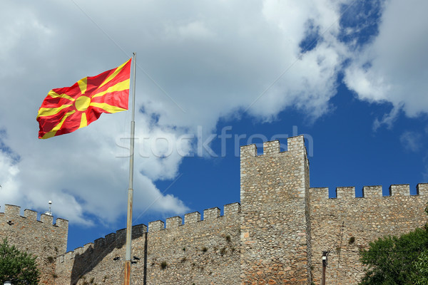 The Macedonian flag on the Samuel fortress Ohrid Stock photo © goce