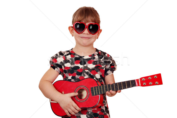little girl with guitar and sunglasses Stock photo © goce