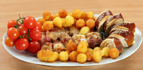 chicken meat with bacon potatoes and tomato gourmet food Stock photo © goce