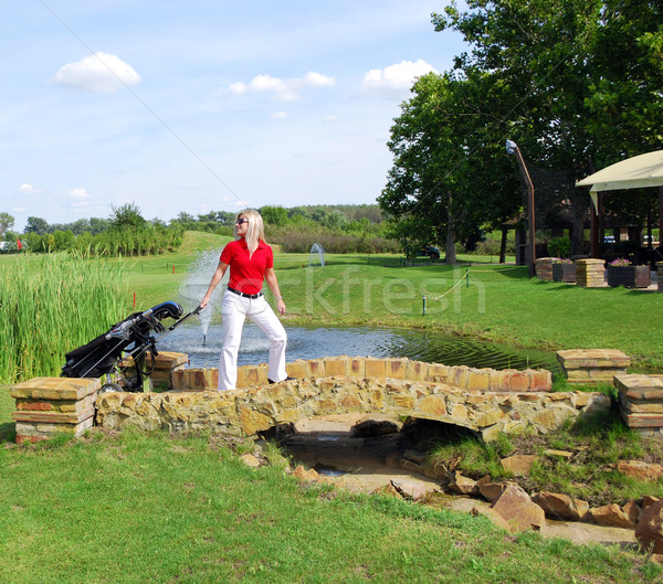 girl goes to play golf Stock photo © goce