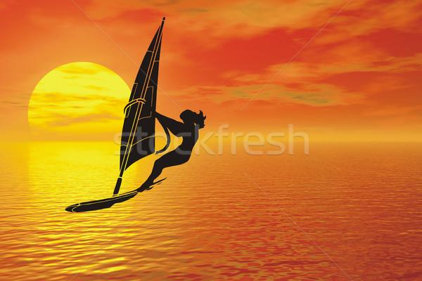 windsurfer silhouette Stock photo © goce
