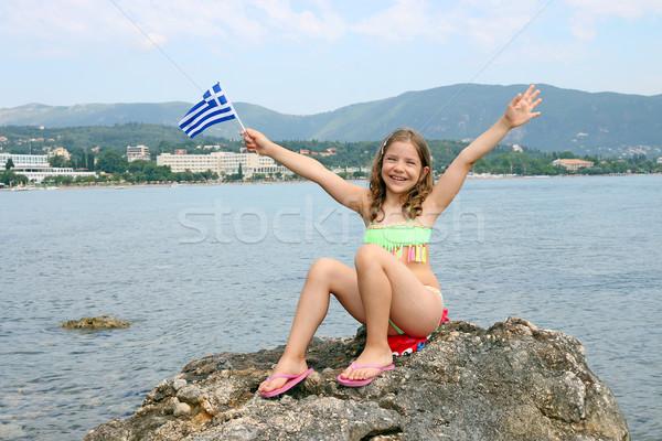 happy little girl on summer vacation Corfu island Greece Stock photo © goce