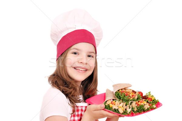 Kislány szakács gyorsételek lány gyermek jókedv Stock fotó © goce