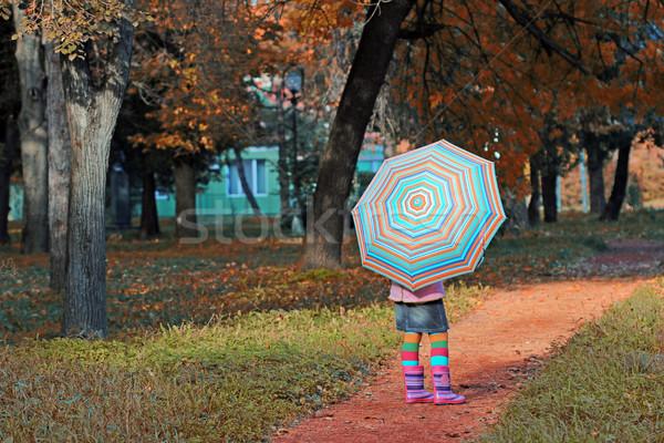 little girl with umbrella in park autumn season Stock photo © goce