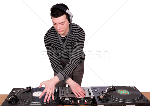 dj with turntables play music Stock photo © goce